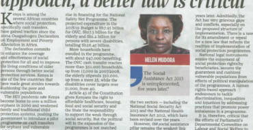 News paper article the Law and social protection